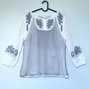 Sundance embroidered silk cotton peasant folk top